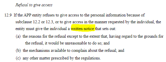 AU Gov Federal Register of Legislation: AU Privacy Act - Written notice when refusing access requests clause