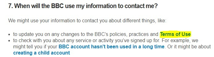 BBC Privacy Policy: Use of information to contact users clause - Terms of Use link highlighted