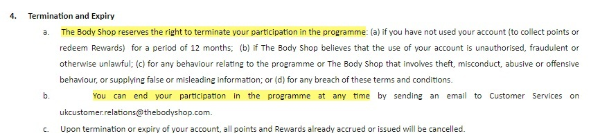 The Body Shop Terms and Conditions: Termination and Expiry clause