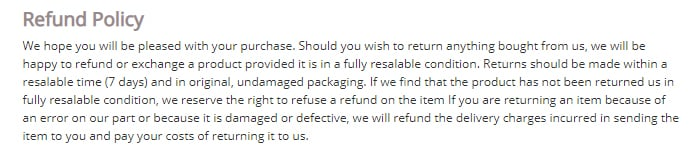 ClearSmile Brace Terms and Conditions: Refund Policy clause