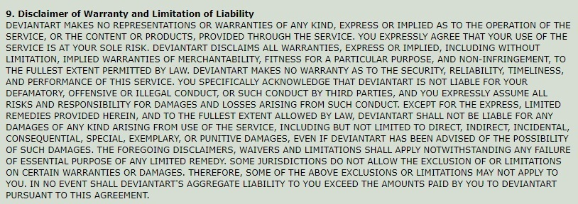 DeviantArt Terms of Service: Disclaimer of Warranty and Limitation of Liability clause