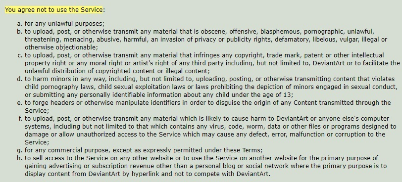 DeviantArt Terms of Service: Prohibited Conduct clause