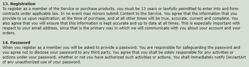 DeviantArt Terms of Service: Registration and Password clauses