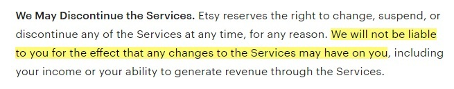 Etsy Terms of Use: We May Discontinue the Services clause