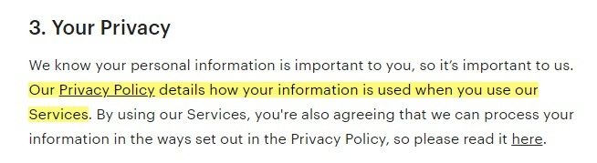 Etsy Terms of Use: Your Privacy clause excerpt