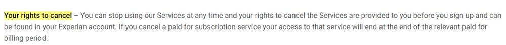 Experian Terms: Your rights to cancel clause