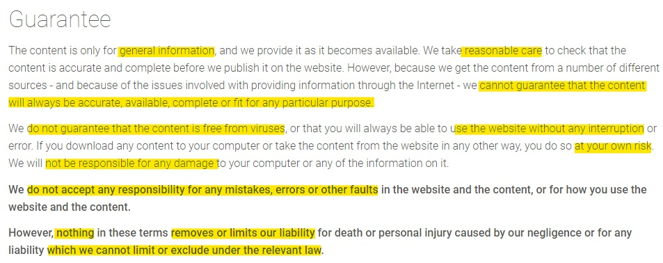 Experian Terms of Use: Guarantee disclaimer clause