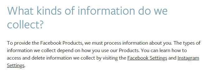 Facebook Data Policy: Information Collect clause