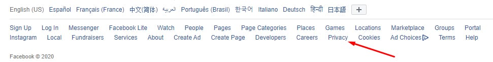 Facebook footer with Privacy link highlighted