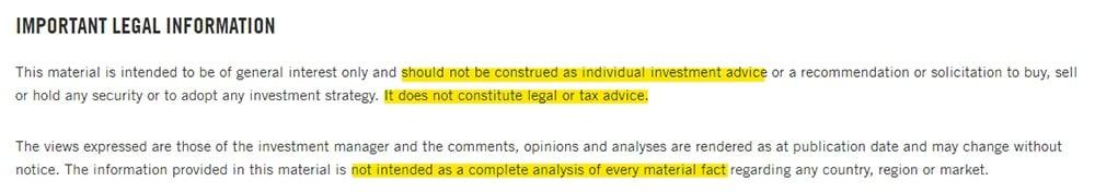 Franklin Templeton Important Legal Information disclaimer