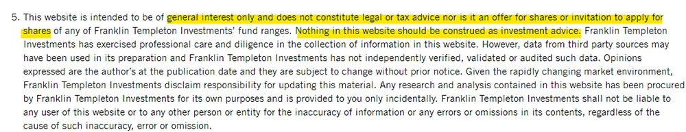 Franklin Templeton Important Legal Information: No advice disclaimer section