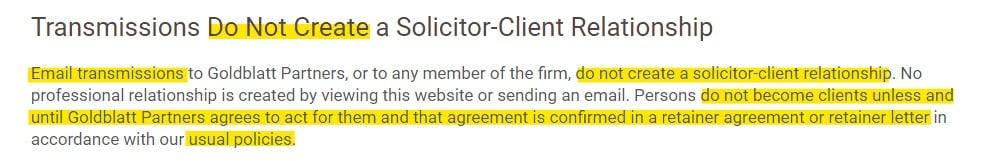Goldblatt Partners: Solicitor-Client Relationship disclaimer