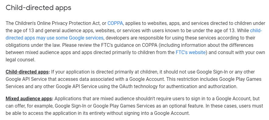 Google API Services User Data Policy: Child-directed apps section
