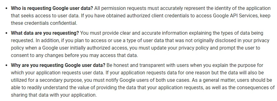 Google API Services User Data Policy: Identity and Intent requirements list