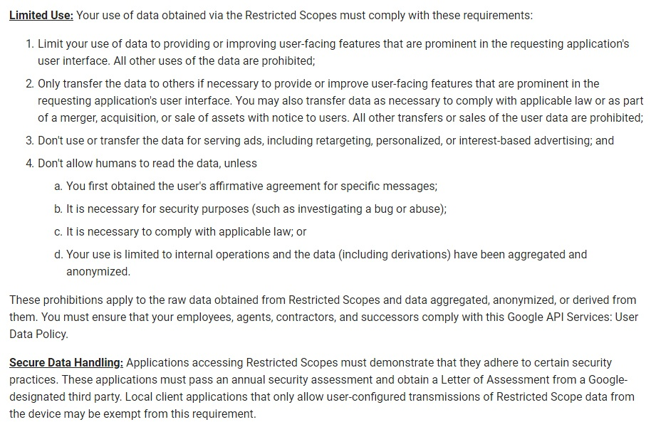 Google API Services User Data Policy: Limited Use and Secure Data Handling sections