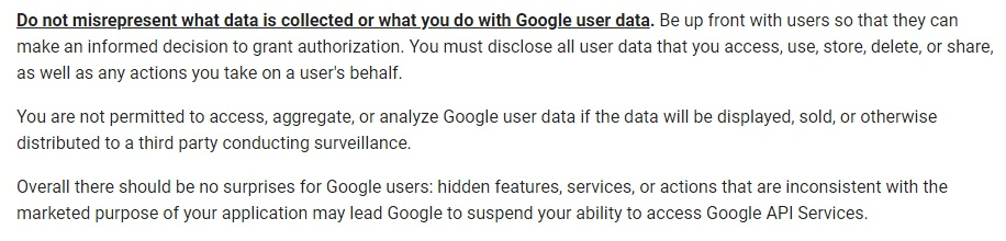 Google API Services User Data Policy: Don't misrepresent data collection or use section
