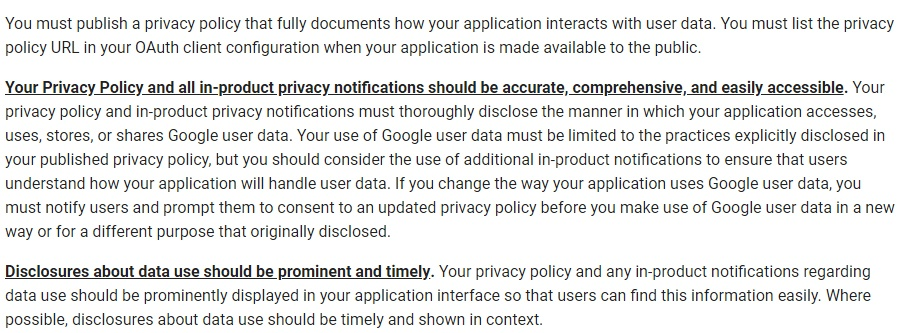 Google API Services User Data Policy: Privacy Policy and Disclosures requirements clauses