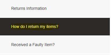 Gymshark Returns Policy: How do I return my items menu