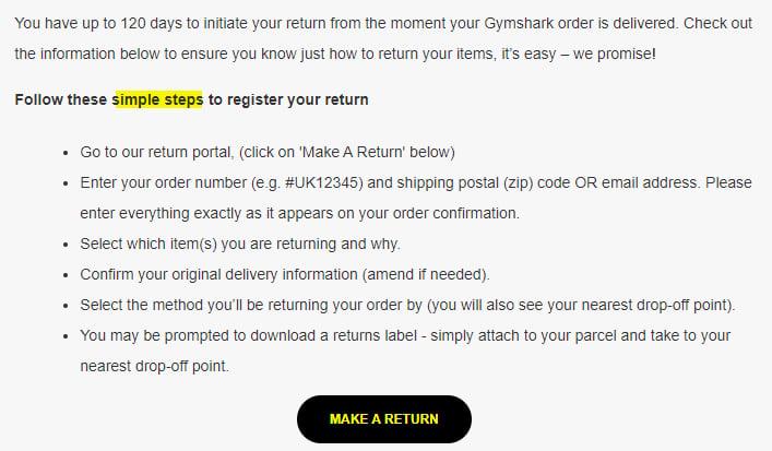 Gymshark Returns Policy: Steps to register return section