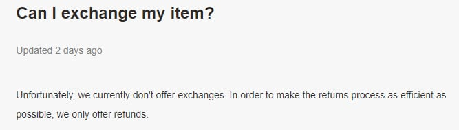 Gymshark Returns and Refunds Help: Exchange section