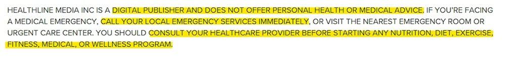 Healthline medical advice disclaimer