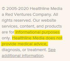 Healthline website footer with medical advice disclaimer