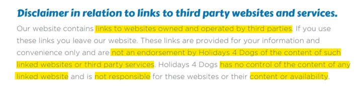Holidays4Dogs third party websites and services disclaimer