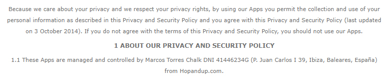 Hop and Up Privacy Policy: Intro and About clause