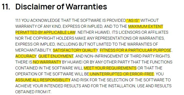 Huawei EULA: Disclaimer of Warranties clause