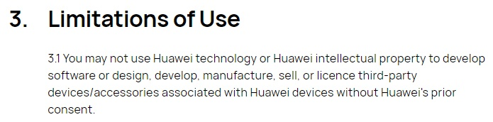 Huawei EULA: Limitations of Use clause - Commercial activity section