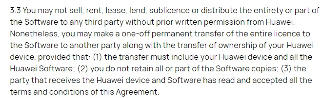 Huawei EULA: Limitations of Use clause - Distributing and transferring app section