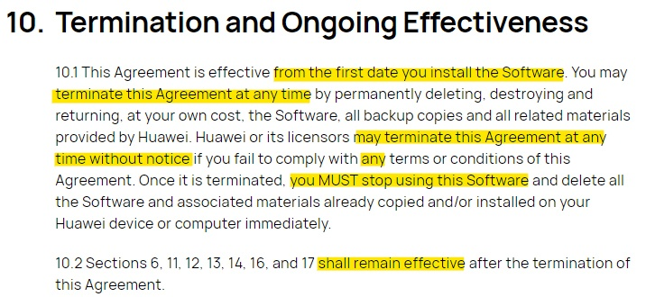 Huawei EULA: Termination and Ongoing Effectiveness clause