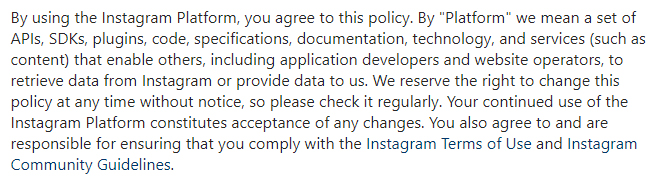 Instagram Platform Policy: Introduction clause