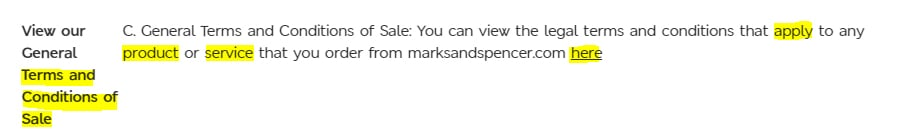Marks and Spencer Terms and Conditions: Conditions of Sale clause