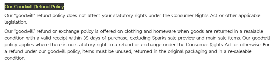 Marks and Spencer Terms and Conditions: Conditions of Sale - Goodwill Refund Policy clause