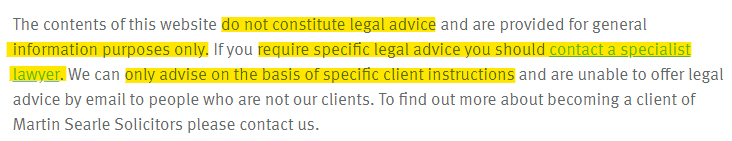Martin Searle Solicitors Legal Disclaimer: Advice section