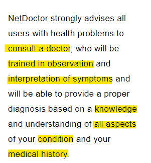 NetDoctor Conditions for Use: Consult doctor disclaimer clause
