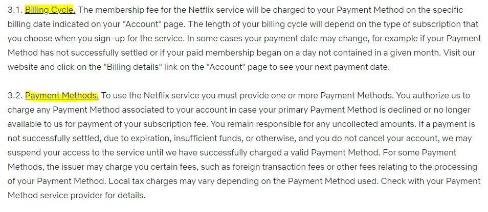 Netflix Terms of Use: Billing Cycle and Payment Methods clauses