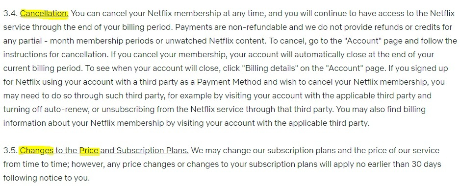 Netflix Terms of Use: Cancellation and Changes to the Price and Subscription Plans clauses