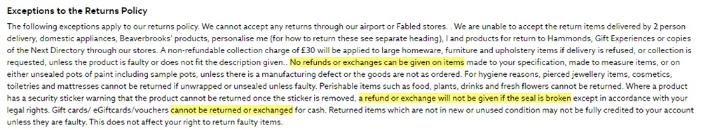Next Terms and Conditions: Exceptions to the Returns Policy
