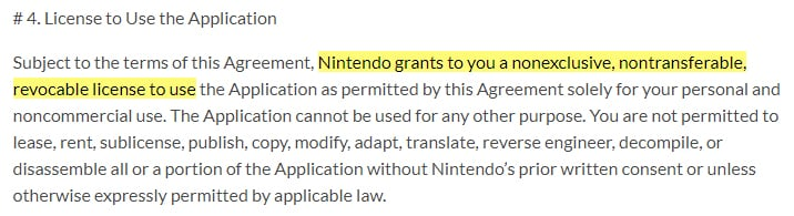 Nintendo Animal Crossing User Agreement: License to Use the Application clause