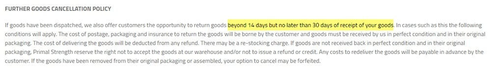 Primal Strength Refund and Returns: Further Goods Cancellation Policy