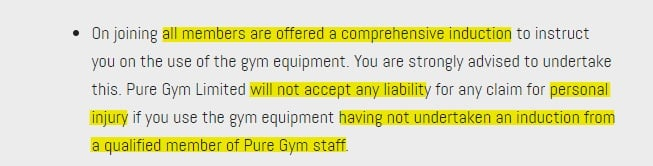 PureGym Rules: Limitation of liability section