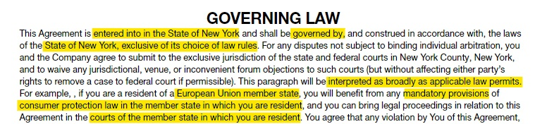 Rockstar Games EULA: Governing Law clause