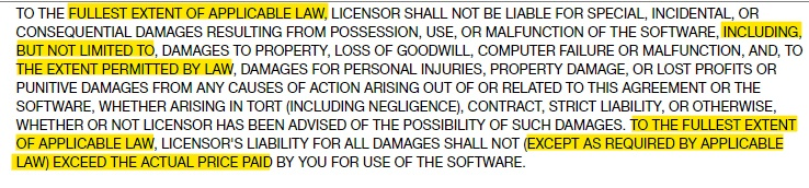 Rockstar Games EULA: Limitation of Liability clause