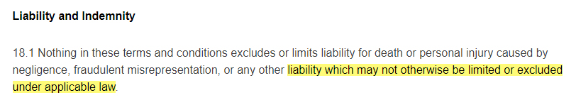 Sainsburys Terms and Conditions: Liability and Indemnity clause - Applicable law section