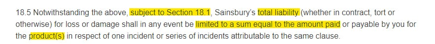Sainsburys Terms and Conditions: Liability and Indemnity clause - Damages section