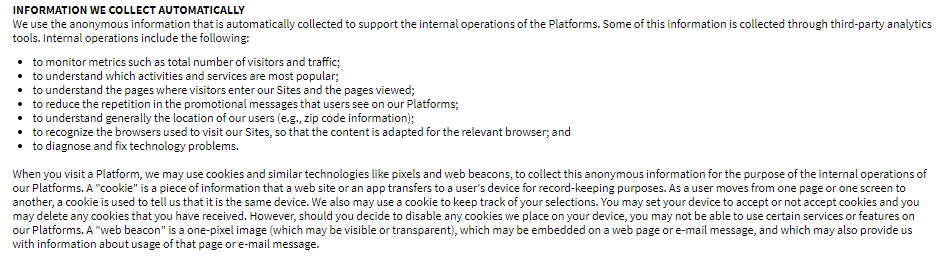 Sesame Street Privacy Policy: Information We Collect Automatically clause