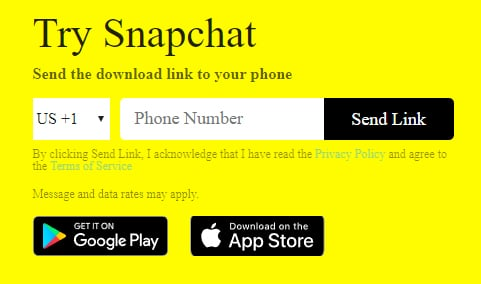Snapchat download link screen