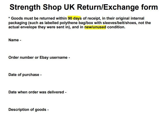 Strength Shop Return and Exchange form excerpt